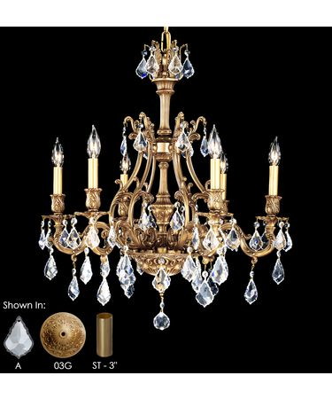Shown in French Gold Glossy finish, Clear Precision Pendalogue crystal and Matching Brass Candle Cover accent